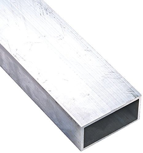 6063 Aluminum Hollow Rectangular Bar, Unpolished (Mill) Finish, T52 Temper, Meets ASTM B221, 1/8