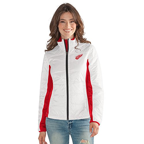 Full Jacket Zip Licensed (GIII For Her NHL Detroit Red Wings Women's Grand Slam Full Zip Jacket, Medium, White)
