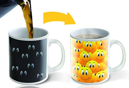 Halloween Costumer Ideas (Heat Sensitive Mug | Color Changing Coffee Mug | Funny Coffee Mug| Funny Yellow Smiley Faces | Birthday Gift Idea For Him Or Her, Mothers Gift For Mom And Fathers)