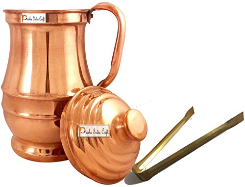 Jug Dutch (Prisha India Pure Copper Jug Water Pitcher with Lid Indian Copper Utensils Capacity 1.9 L)