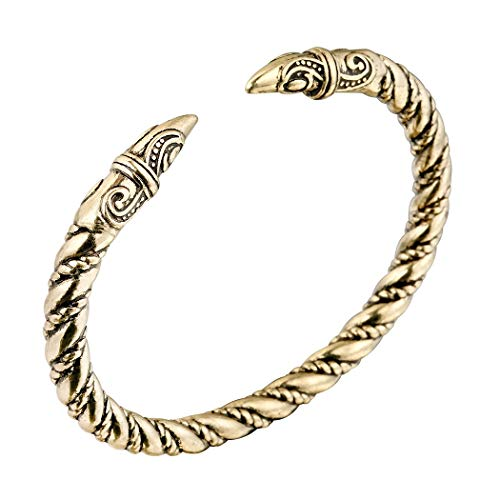 AILUOR Men's Double Head Dragon Bracelet, Norse Viking Adjustable Stainless Steel Gold Sliver Cuff Cool Polished Twisted Arm Ring Cable Bangles Pagan Jewelry ()