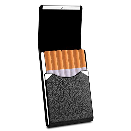 Rivia Classic Leather Cigarette Carrying Case for Men and Women (Black)