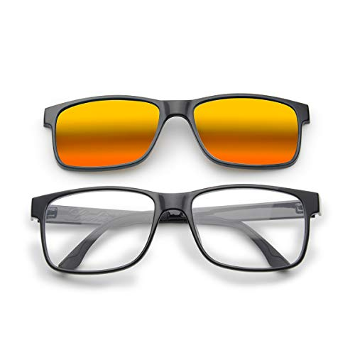 Livho[2 Functions] Blue Light Blocking Computer Glasses,Sunglasses Clip On for Women Men,Anti Glare Filter Polarized UV 400 Lens(Black Frame + Orange ()