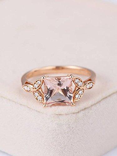 Amazon Com Pink Morganite Engagement Ring Princess Cut Solid 14k