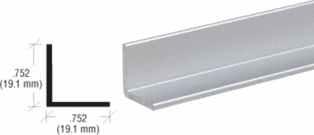 CRL Satin Anodized 3/4'' Aluminum Angle Extrusion - 12 ft Long