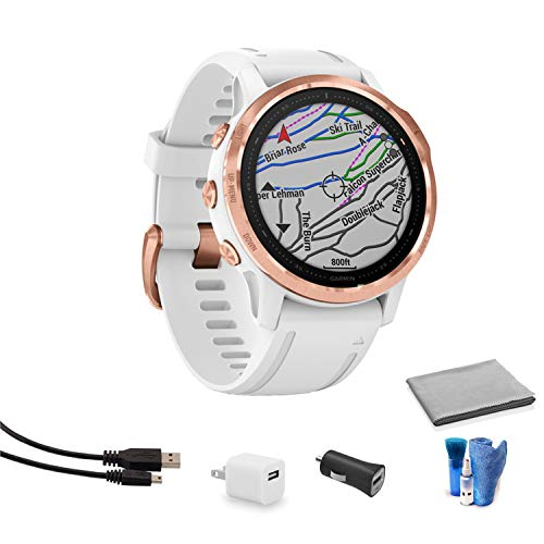 Garmin Fenix 6S Multisport GPS Smartwatch (42mm, Pro - Rose Gold-Tone and White Band) 010-02159-10 Bundle Kit