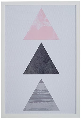 Rivet Patterned Pink and Grey Triangles in White Frame, 12