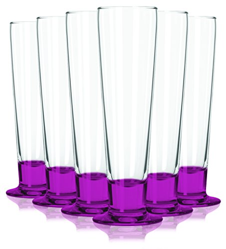 Catalina Tall Beer - Pink Libbey Catalina Tall Beer Glass with a Beautiful Colored Accent with 14 oz Capacity - Set of 6 - Additional Vibrant Colors Available by TableTop King