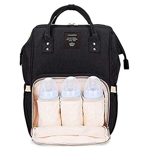 757bdb5d16 Robustrion Stylish Waterproof Multifunctional Diaper Bag for Mothers for  Travel Nappy Tote Backpack Large Size (20 x 18 x 40 cms) - Black   Amazon.in  Bags