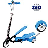 RISILAYS Kids Three Wheel Kick Scooter Winged Speeder- Perfect For Children Aged4-15 Featuring Flash music Light-Up Wheels, Foldable Design, Adjustable Handles & Lightweight Construction,Blue