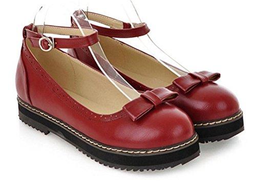 Ess Sjokk Kvinners Jenter Lolita Flate Lave Topp Japanske Studenter Maid Uniform Sko Oxford Sko Mørk Rød