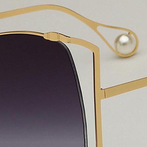 Sol Gafas De Ghtweight Mujer Gafas Pink Perlas Gafas Marco para Grande Moda GAOJUAN De Brown w1FfnqEWq
