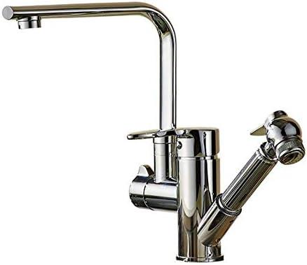 飲料水フィルタータップ冷温水ミキサー、追加プルダウンスプレー付き回転式シングルハンドルハイアーククロームメッキプルアウトキッチン水栓銅キッチンシンクの蛇口