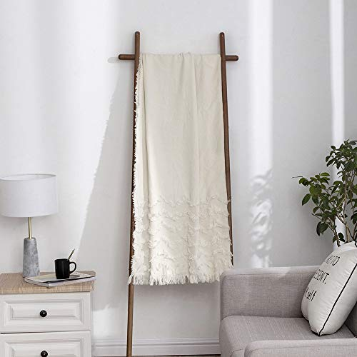 Simple&Opulence Zigzag Cotton Throw Blanket Fringed Cable Knit Woven with Tassels Cozy Blanket Scarf Shawl Farmhouse Decoration (White)