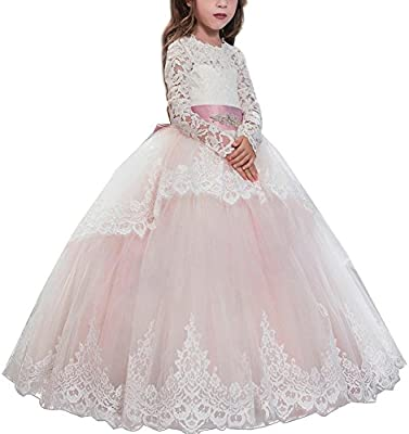 Lace Flower Girl Dress Long Maxi Gown for Kid Communion Party Wedding Bridesmaid