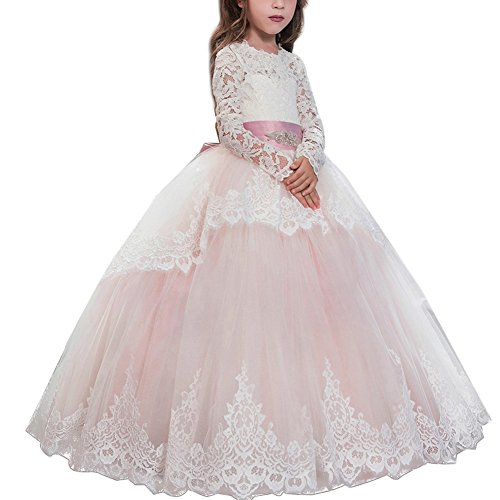 Lace Embroidery Sheer Long Sleeves Kids Trailing Gowns Tulle Ball Gown Floor Length Dance Evening #C Flesh Pink 4-5 Years