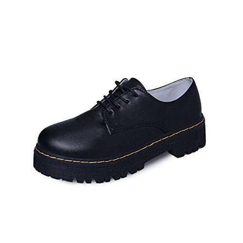 Thick Black JULY Shoes Platform Fashion Shoes Casual Sole Oxfords Women's Glossy Retro Round Toe T BW4qT64