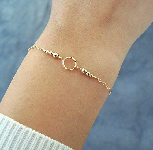 Thin Gold Filled Bracelet With Textured Ring and Beads