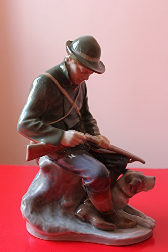 Royal Copenhagen Dogs - Royal Copenhagen Hunter with Dog Figurine By Chr. Thomsen