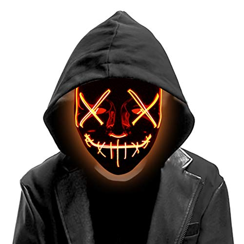 DomeStar Led Mask, Purge Mask Light Up Mask Glow Mask Halloween Mask Masquerade DJ Show