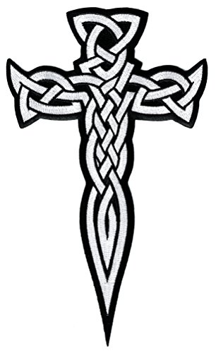 (Large Celtic Cross Dagger White Iron-On Patch Embroidered Irish)