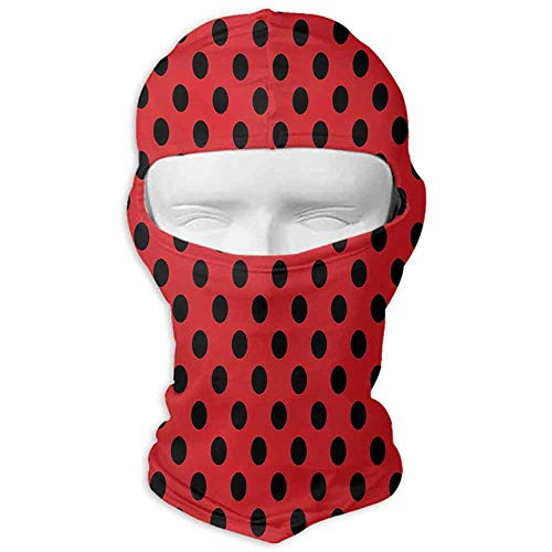 Balaclava Hood Windproof Red and Black Retro Vintage Pop Art Theme Old 58s 50s Rocker Inspired Bold Polka Dots Image Scarlet -