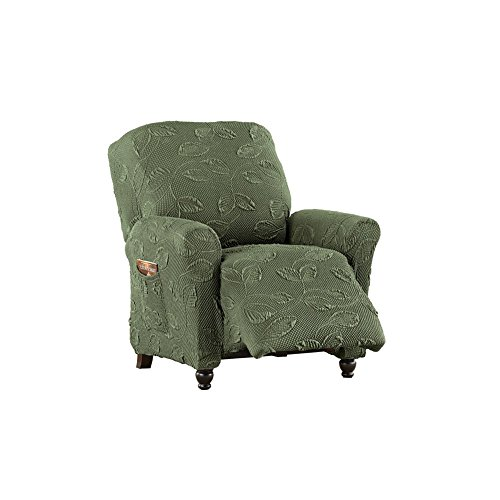 Decorative Leaf Stretch Slipcover, Furniture Cover Protector with Elastic Fit, Stay in Place Slipcover, Hunter Green, Recliner by Collections Etc