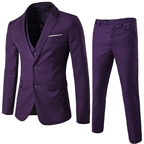 Mens Two Button 3-piece Slim Fit Dress Suit for Men Single-breasted Notch-lapel Blazer Jacket, Purple Suit Size (Suit For Cheap)