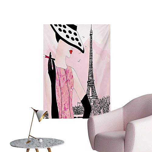 Anzhutwelve Teen Room Photographic Wallpaper Sexy Woman with Hat Smoking in Front of Eiffel Tower in Shabby Pink DesignPale Pink Black W32 xL36 Wall ()