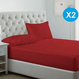 iBed home Fitted Bedsheet 3Pcs Set, Cotton, King Size, Red, 2 Set