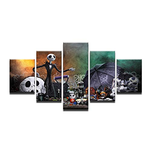 Fbhfbh Wall Art Painting Canvas Picture for Living Room Prints 5 Panel Nightmare Before Christmas Movie Posters Home Decor Frame-8 x 14/18/22inch,Without -
