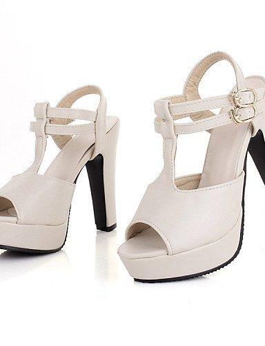 ShangYi Women's Shoes Leatherette Chunky Heel Heels / Platform Sandals Office & Career / Dress / Casual Black / Almond Almond wDbH2lOUN