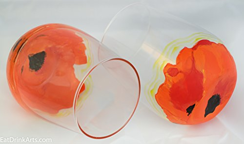 Red/Orange Poppy with Yellow Stained Stemless Wine Glass--Hand Painted Glassware--Customized Option Available for Green/White Wild Flower or Golden Shell