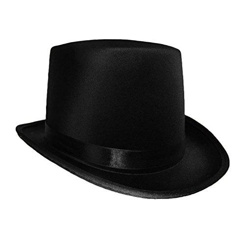 Black Satin Top Hat Magician Gentleman Adult 20's Costume Tuxedo Victorian Slash