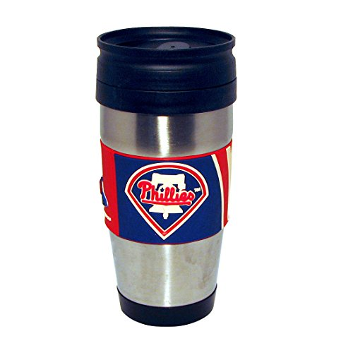 Hunter Mfg. LLP MLB Philadelphia Phillies Stainless Steel Travel Tumbler with PVC Wrap, 15-Ounce, Team Color ()