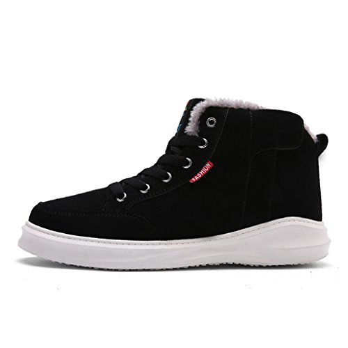 Eagsouni® Men's Warm Suede Leather Snow Boot Fur Lined Lace Up Ankle Sneakers High Top Shoes Black nKBTC