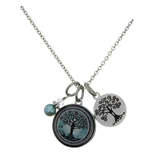 Spirit Lala Tree of Life Teal Circular Reversible Pendant Necklace With Crystal (Crystal Circular Charm)