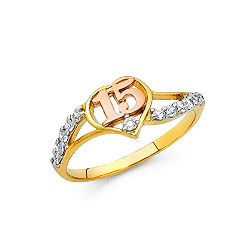 Sweet 15 Quinceanera Ring Solid 14k Yellow White Rose Gold Quince Band Heart CZ Curve Style , Size 7 14k Yellow Gold Sweet
