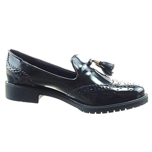 Sopily - Scarpe da Moda Mocassini alla caviglia donna verniciato perforato pon pon Tacco a blocco 3 CM - Nero