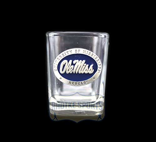 Ole Miss Rebels NCAA Square Shot Glass - Blue Enamel Emblem ()