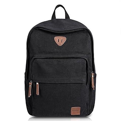 Ibagbar Vintage Canvas Backpack Rucksack Laptop Bag Computer Bag Daypack Travel Bag College Bag Book Bag School Bag Gym Bag Sports Bag Hiking Bag Camping Bag Weekend Bag Black
