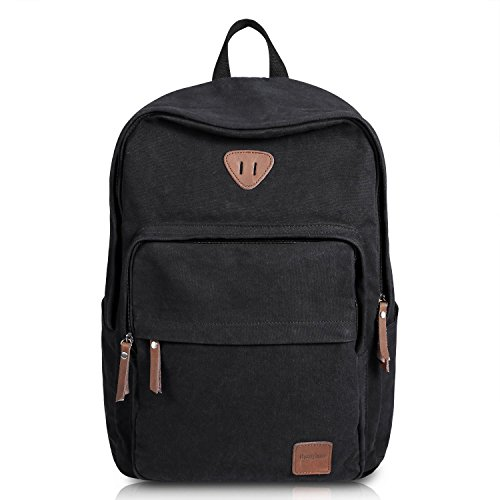 Ibagbar Vintage Canvas Backpack Rucksack Laptop Bag Computer Bag Daypack Travel Bag College Bag Book Bag School Bag Gym Bag Sports Bag Hiking Bag Camping Bag Weekend Bag Black