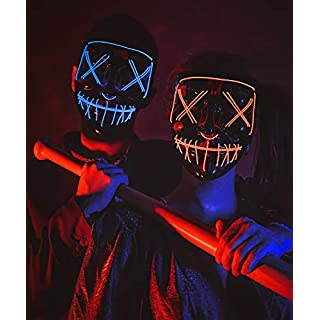 Led Purge Mask - [2PACK] Halloween Led Mask Light Up Mask for Festival Cosplay Halloween Costume (Red/Blue)