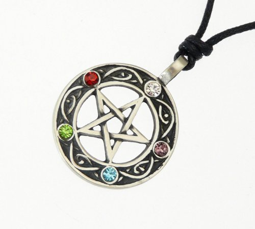 Wiccan Pewter The Pentacle Of Life Druids Tree Pendant On Adjustable Black Cord Necklace. STYLE D