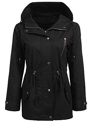 Bifast Women's Waterproof Front-Button Lightweight Hoodie Hiking Outdoor Raincoat Jacket with Pocket S-XXL