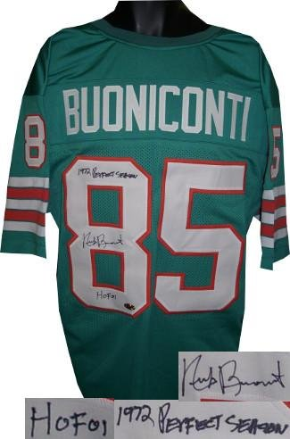 Nick Buoniconti Autographed Jersey - Teal TB Prostyle Dual HOF 01 & 1972 Perfect Season - Autographed NFL Jerseys