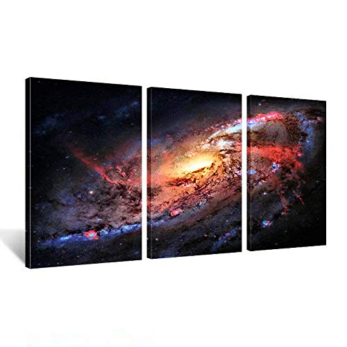 Kreative Arts - Space and Universe Stretched Canvas Print - Space Landscape Paintings Wall Art Decor Universe Galaxy Stars 3 Piece Picture Print on Canvas for Modern Home Decoration Ready to Hang (Canvas Stretched Prints)