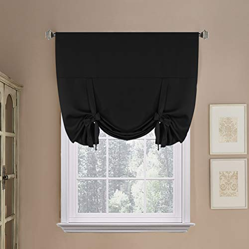 H.VERSAILTEX Thermal Insulated Blackout Curtain in Solid Black Tie Up Shade for Kitchen (Rod Pocket Panel) - 42