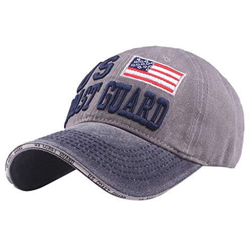 URIBAKE Men Women Vintage Baseball Cap US Coast Guard Embroidered Denim Cap Topee Hats