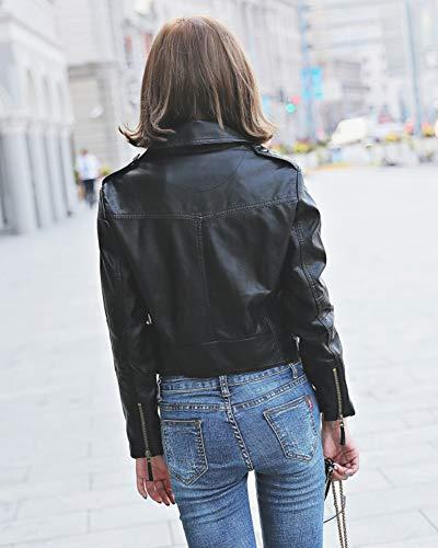 Lunga Giubbotto Cappotto Fit Giacca Pelle Slim Giacche Pu Zip Con Manica Vintage Risvolto Moto Nero Donna StW8Onn